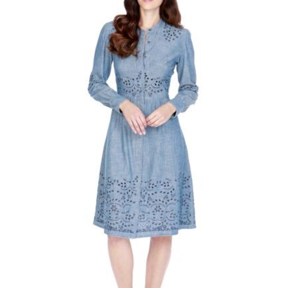 dbffe54f023979 Lucky Brand Chambray Embroidered Eyelet Midi Dress